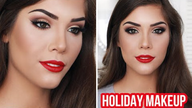 Holiday Glam Makeup Tutorial | Winged Liner, Brown Eyes & Red Lips